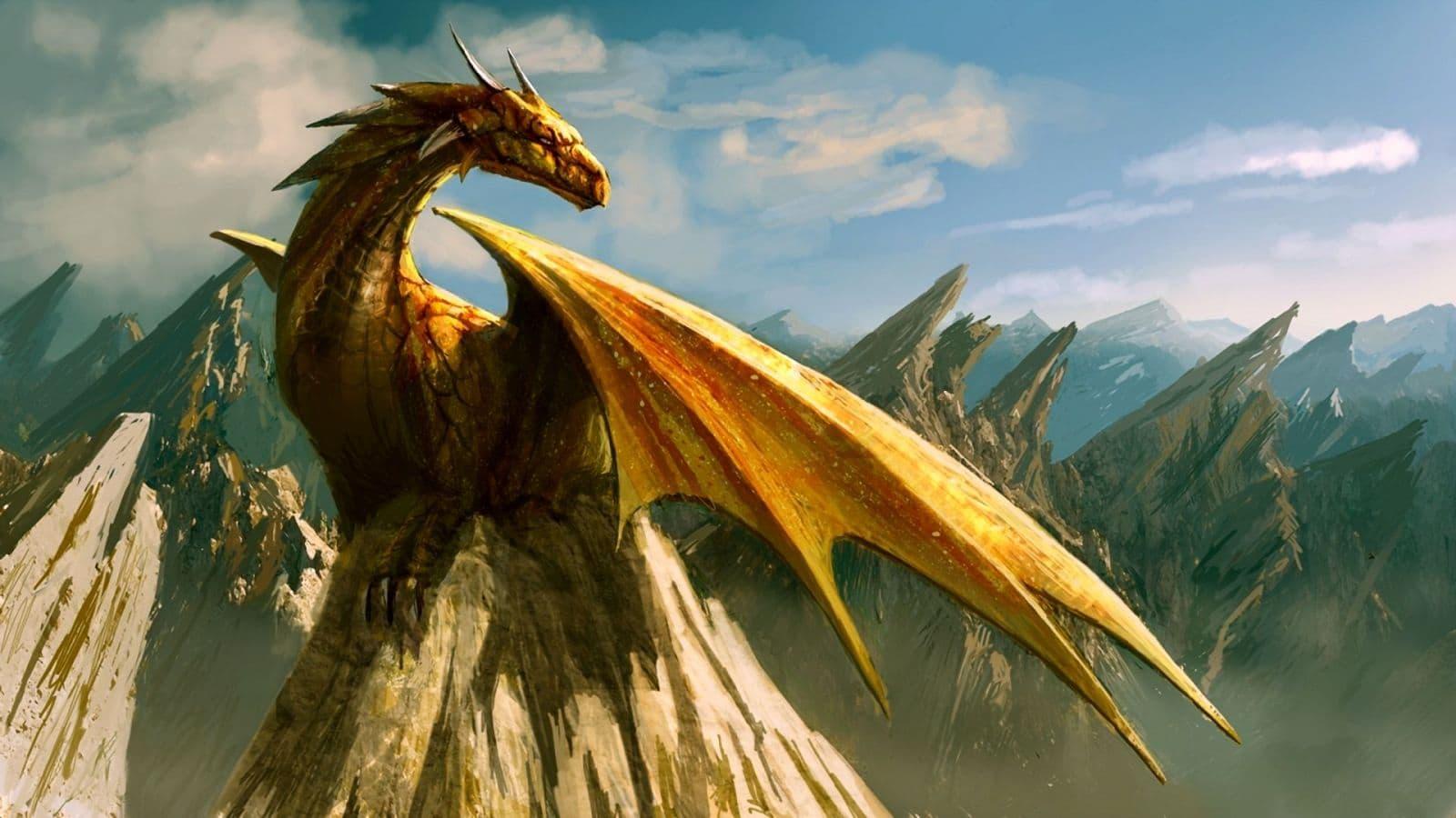 Драконья группа драконы у водопада