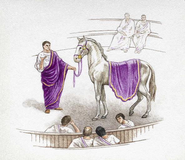 Изображение императора Калигулы и его коня Инцитата