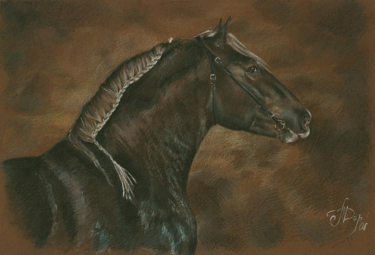 Рисунок лошади бретонской породы