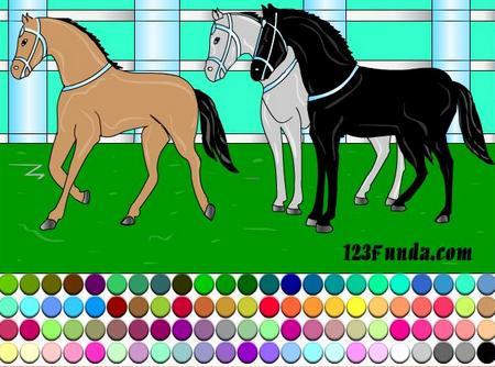 Онлайн раскраски с лошадьми
