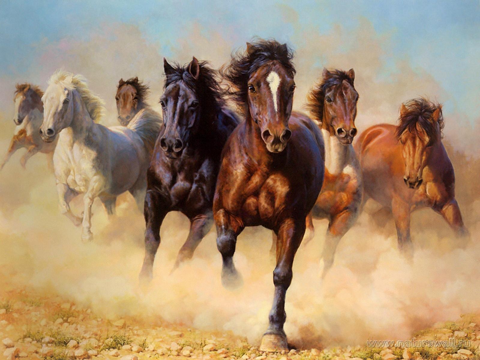 """Оригинал схемы вышивки  """"Табун лошадей """" ."""